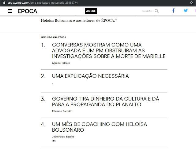 """""""Um mês de coaching com Heloísa Bolsonaro"""" - na mesma página onde pedem desculpas."""