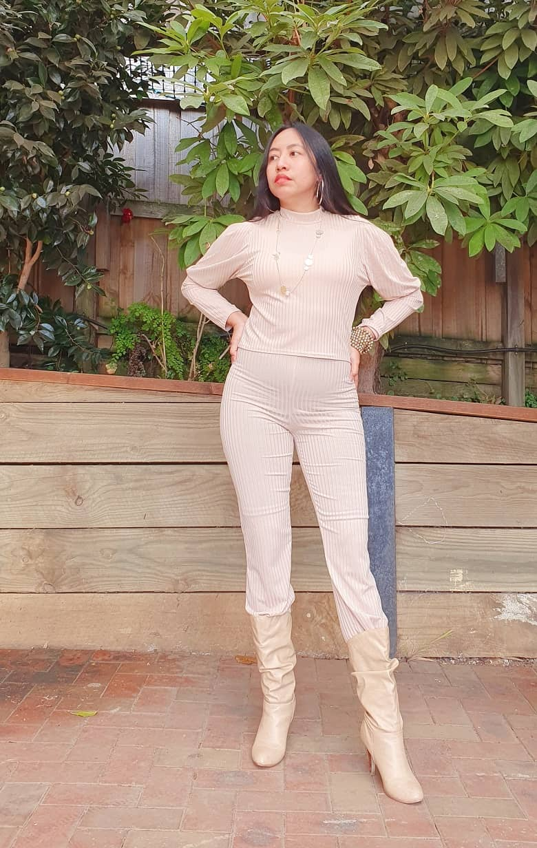 Femme Luxe - Nude Ribbed Loungewear Co-Ords
