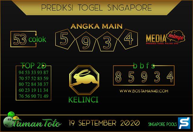 Prediksi Togel SINGAPORE TAMAN TOTO 19 SEPTEMBER 2020