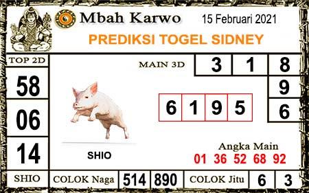 Prediksi Jitu Mbah Karwo Sdy Senin 15 Februari 2021