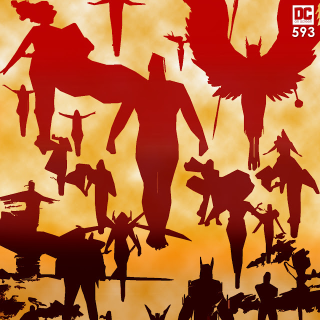 the dc superheroes in silhouette