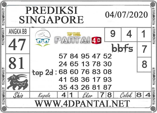 PREDIKSI TOGEL SINGAPORE PANTAI4D 04 JULI 2020