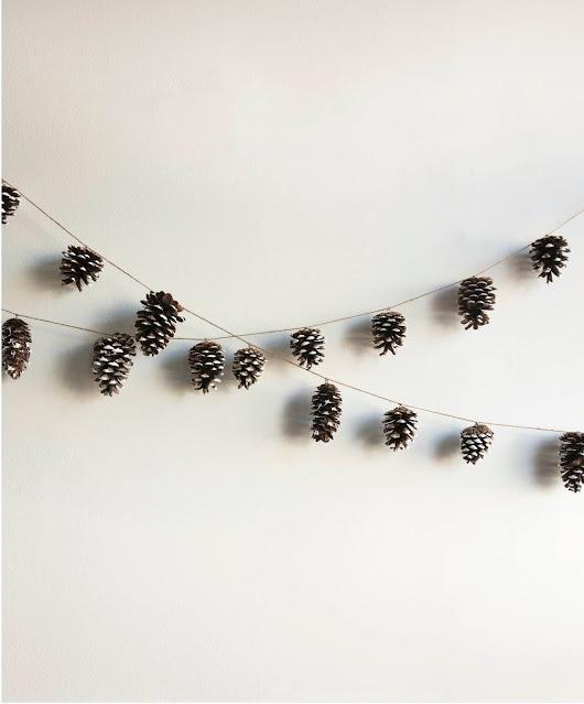 Scandinavian Gatherings paint dipped pinecone garland