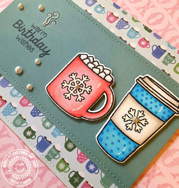 Sunny Studio Stamps: Mug Hugs Warm Birthday Wishes Hot Cocoa & Coffee Card by Lindsey Sams.
