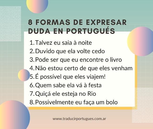 Formas de expresar duda en portugués