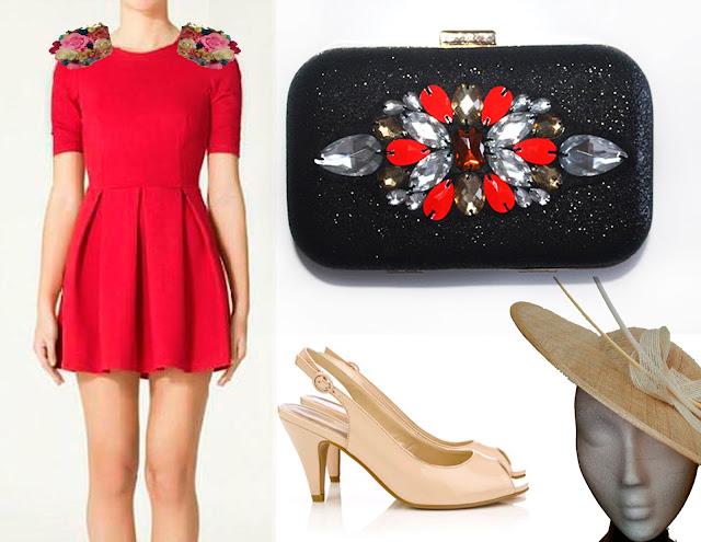 Como combinar un vestido rojo con complementos nude y bolso joya rojo