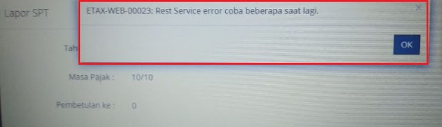 eFaktur Web Based Error ETAX-WEB-00023 Rest Service Error