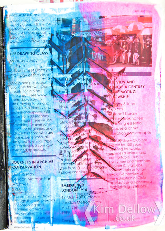 Neon pink and blue art journal page