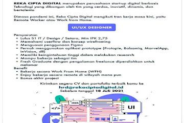 Lowongan Kerja UI/ UX Designer Reka Cipta Digital Bandung