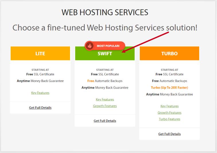 chosse hosting plan