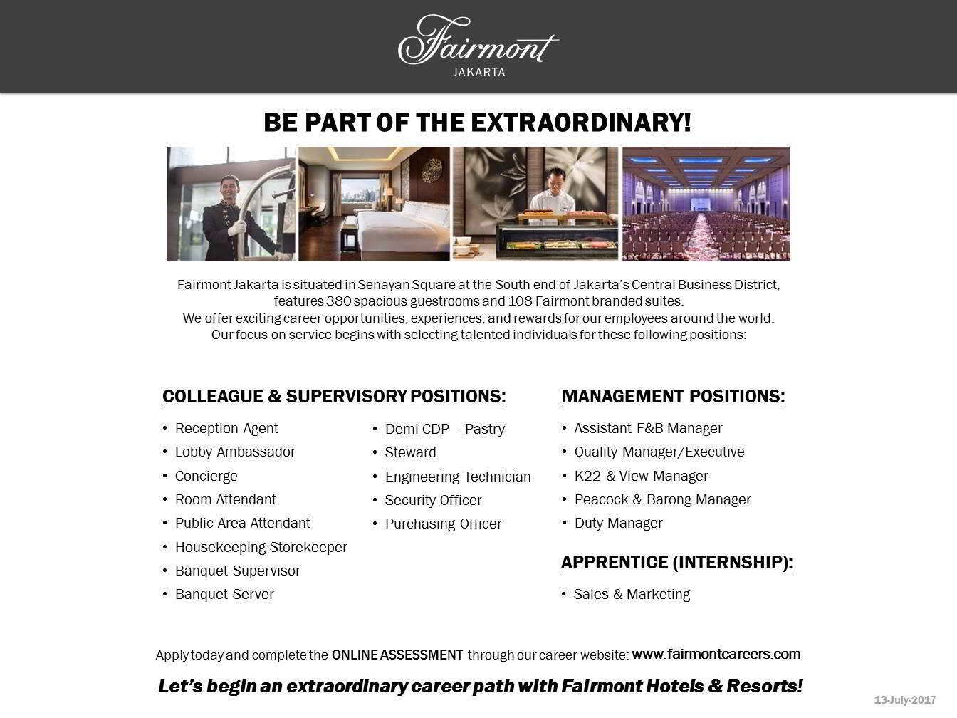 Attendant Housekeeping Keeper Banquet Supervisor Server Demi Cdp Pastry Steward Engineering Technician Security Officer
