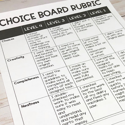 Picture of January Choice Board Rubric