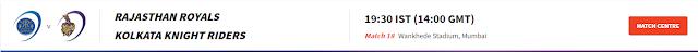 IPL 2021: 18th Match between RR vs KKR