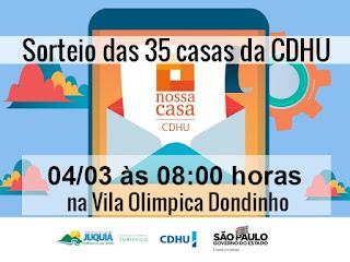 Sorteio das 35 casas da CDHU será dia 4, na Vila Olímpica Dondinho em Juquiá