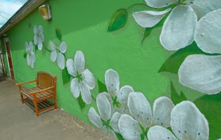 Flower mural on the wall