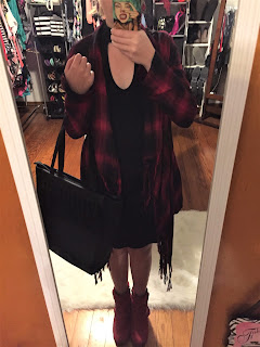 red plaid cardigan and keyhole dress outfit of the day