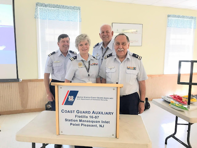 Fellowship and teamwork are one of the cornerstones of the U.S. Coast Guard Auxiliary. On Saturday, our team of instructors (left to right) of Auxiliarists Chris Mazlone, John Fisher, Janet Malzone and Bill Castagno, taught the eight hour required course and had all students pass the NJ State Police exam. Bravo Zulu team!