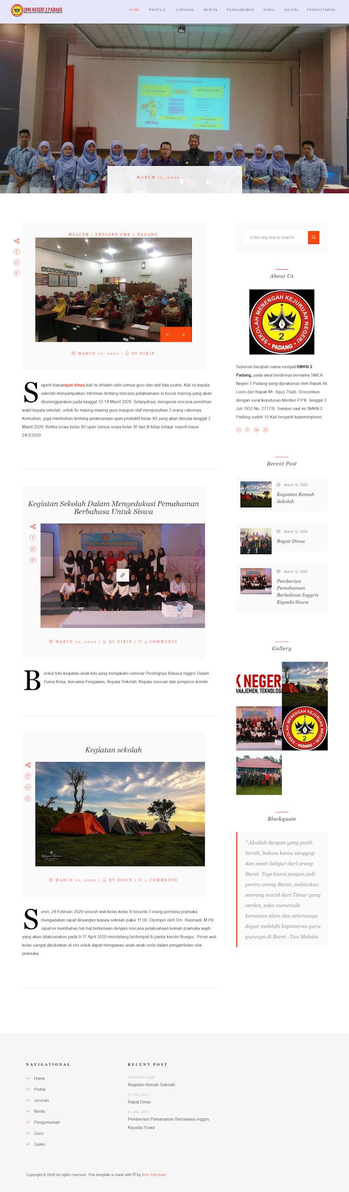 Website Sekolah + PPDB Online SMK N 2 Padang