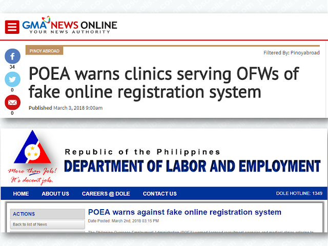 """The Philippine Overseas Employment Administration has issued a warning to all licensed recruitment agencies and medical clinics catering to OFWs not to be duped by an online registration system allegedly operated by the Gulf Cooperation Council Ministry of Health. Advertisement        Sponsored Links    The Philippine Overseas Employment Administration has warned licensed recruitment agencies and medical clinics catering to OFWs not to be duped by an online registration system allegedly operated by the Gulf Cooperation Council Ministry of Health.  In an advisory, the POEA said the Department of Health (DOH) has denied claims that it approved the scheme that requires the applicant to pay a registration fee of $10 for the provision of Pre-Employment Medical Examination.  The DOH prohibits the Medical Facilities for Overseas Workers and Seafarers (MFOWS) from participating or using the said online scheme.  In Department Circular No. 0371 issued on December 22, 2017, the DOH said that """"since the online registration system charges an additional fee to the OFW applicants and can be restrictive to few selected DOH-accredited OFW clinics, it may be construed as another form of decking and monopoly of health examination services for Filipino migrant workers"""".    The department Circular reads: It has come to the attention of the Department of Health (DOH) that a new online registration system that requires the OFW applicant to pay a registration fee of US$10 is being used by some Medical Facilities for Overseas Workers and Seafarers (MFOWS) for the provision of Pre-Employment Medical Examination (PEME).  This scheme was allegedly authorized by DOH.  DOH upholds the provisions stipulated in the Republic Act No. 10022, titled, """"An Act Amending Republic Act No. 8042, Otherwise Known as the Migrant Workers and Overseas Filipinos Act of 1995, As Amended, Further Improving the Standard of Protection and Promotion of the Welfare of Migrant Workers, Their Families and Overseas Filipi"""