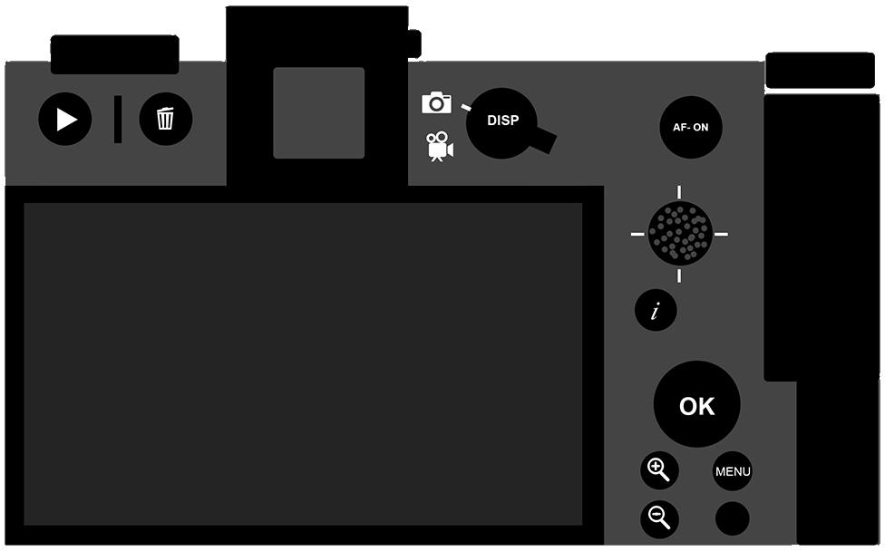 Схема расположения органов управления на задней панели беззеркальной камеры Nikon