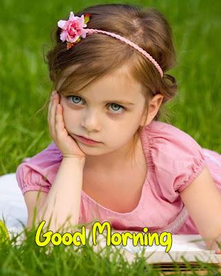 baby girl saying good morning images