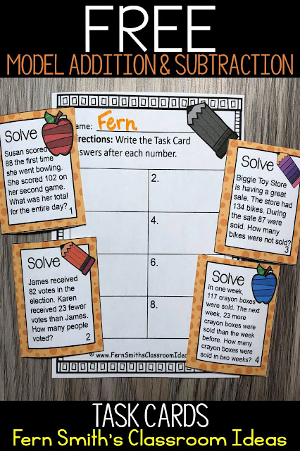 Freebie Friday ~ FREE Model Addition and Subtraction Task Cards, Recording Sheet, and Answer Key. From #FernSmithsClassroomIdeas