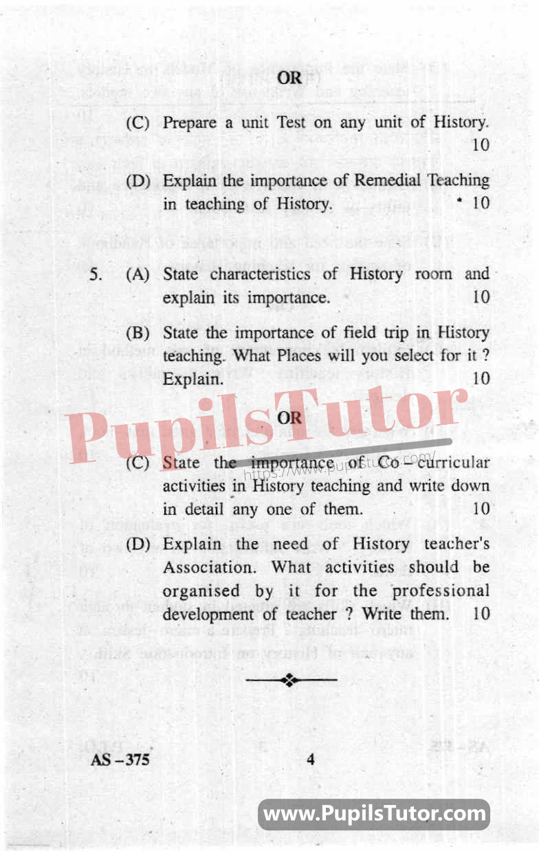 Pedagogy Of History Question Paper In English