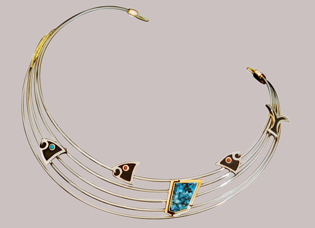 Necklace and matching earrings by jeweler Zhaawano Giizhik
