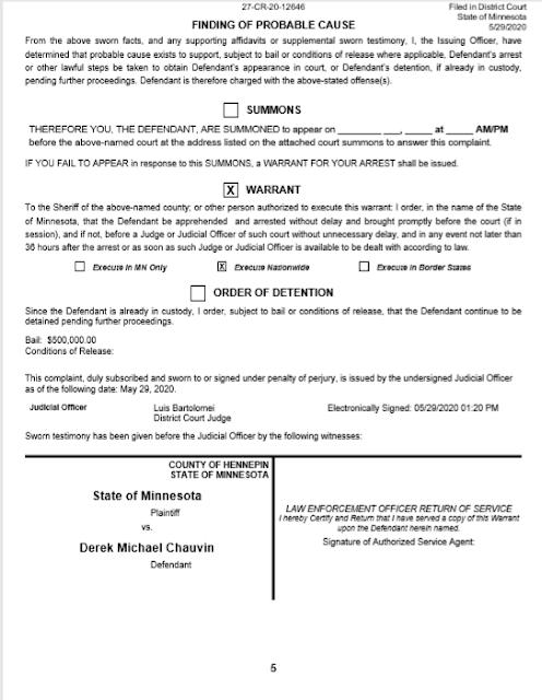 derek chauvin bail document