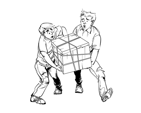 2 boys  carrying a large box kids book illustration