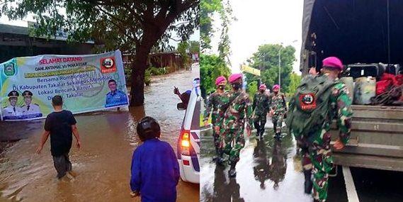 Gerak Cepat, Lantamal VI Makassar Berangkatkan Prajurit ke Lokasi Banjir di Kab Takalar