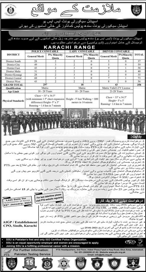 Jobs in Sindh Police Special Security Unit 2021 For Driver Constable, Lady Constable and Police Constable PTS Application Form - Sindh Police Special Security Unit Jobs Advertisement