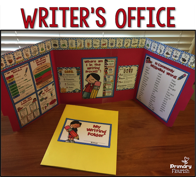 This Writer's Office provides the privacy most writers need in order focus on their writing and not be distracted by what is happing around them. The office also contains visual tools that will aid students move through the writing process with increasing independence. You can create a class set, laminate for durability, and have them for years. Or, you may want to make a few to put in your writing center.