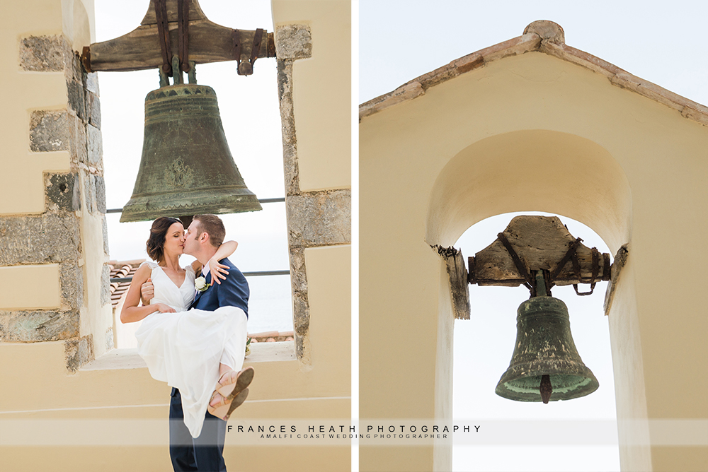 Bride and groom with church bells