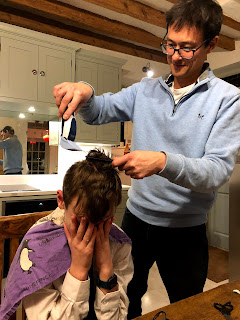 Coronavirus haircuts in the kitchen