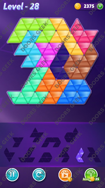 Block! Triangle Puzzle 10 Mania Level 28 Solution, Cheats, Walkthrough for Android, iPhone, iPad and iPod