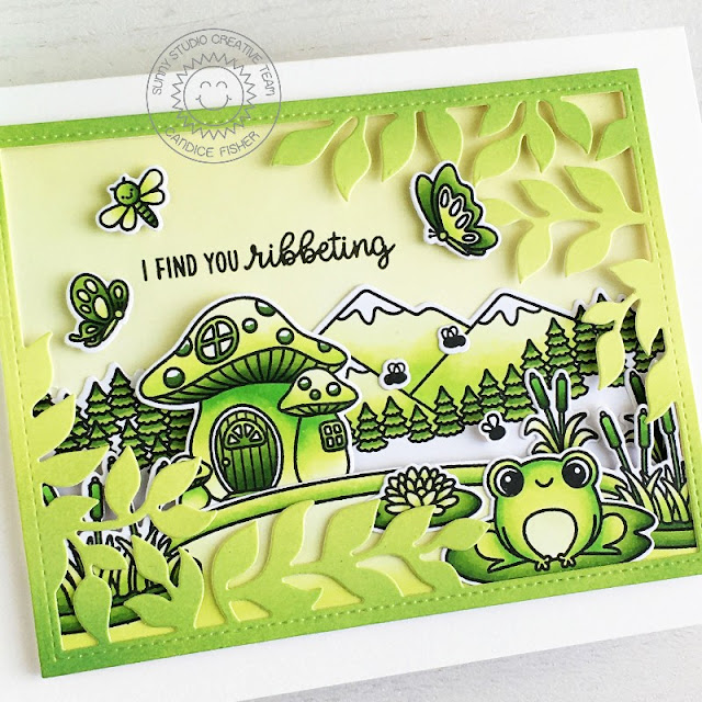 Sunny Studio Stamps: Country Scenes Feeling Froggy Garden Fairy Botanical Dies Everyday Card by Candice Fisher
