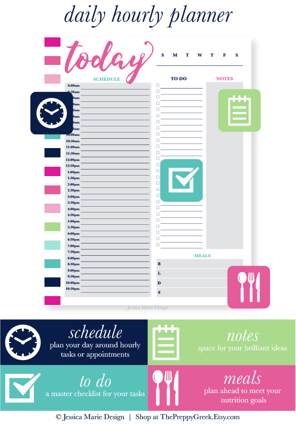 Daily Calendar Design : Jessica marie design stay productive with printable