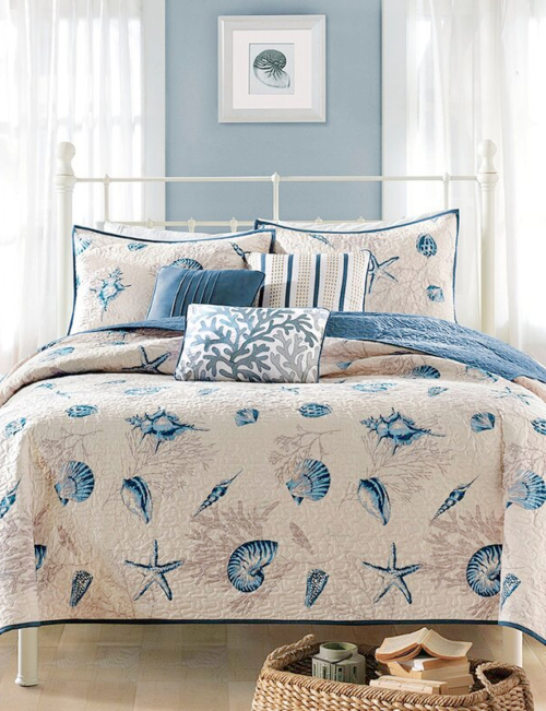 Blue Taupe Beige Seashell Bedding Quilt