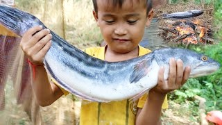 Net Fishing And Cooking – Cambodia Traditional Fishing | Khmer Cast Net Fishing