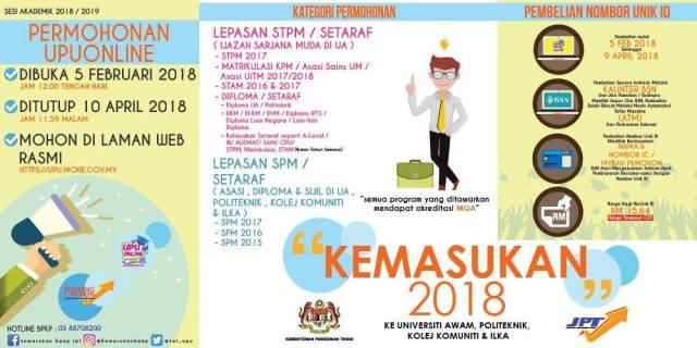 SEMAK Panduan Permohonan UPU Online 2018 Serta Tarikh Penting