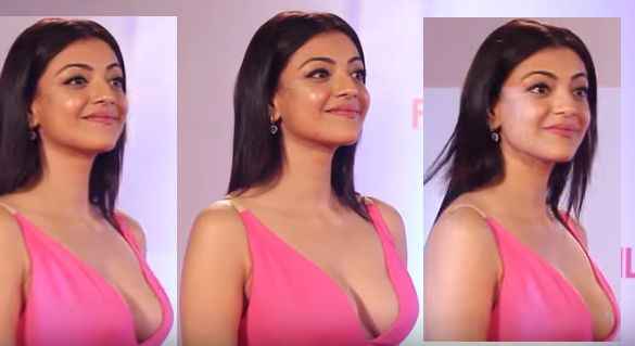 KAJAL AGGARWAL BREASTS NIPPLE CLEAVAGE EXPOSE FILM FARE RED CARPET 2016
