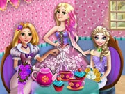 Bridesmaids Magic Tea Party is a free online game for girls on GamesGirlGames.com. Join three lovely bridesmaids for a beautiful and relaxing tea party! Enter the princess's kitchen and magically fix the tea set so you can poor delicious tea in the cups. Add cupcakes and your tray is ready for the party! Have fun trying on different dresses, accessories and hairstyle and the princess will look divine!
