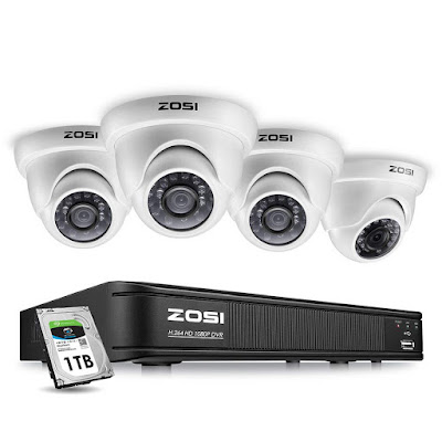 ZOSI 1080p Surveillance Camera System for Home, 8 Channel Security DVR Recorder with 4Pcs Indoor/Outdoor Dome Camera 1080p,Remote Access, Customize Motion Detection