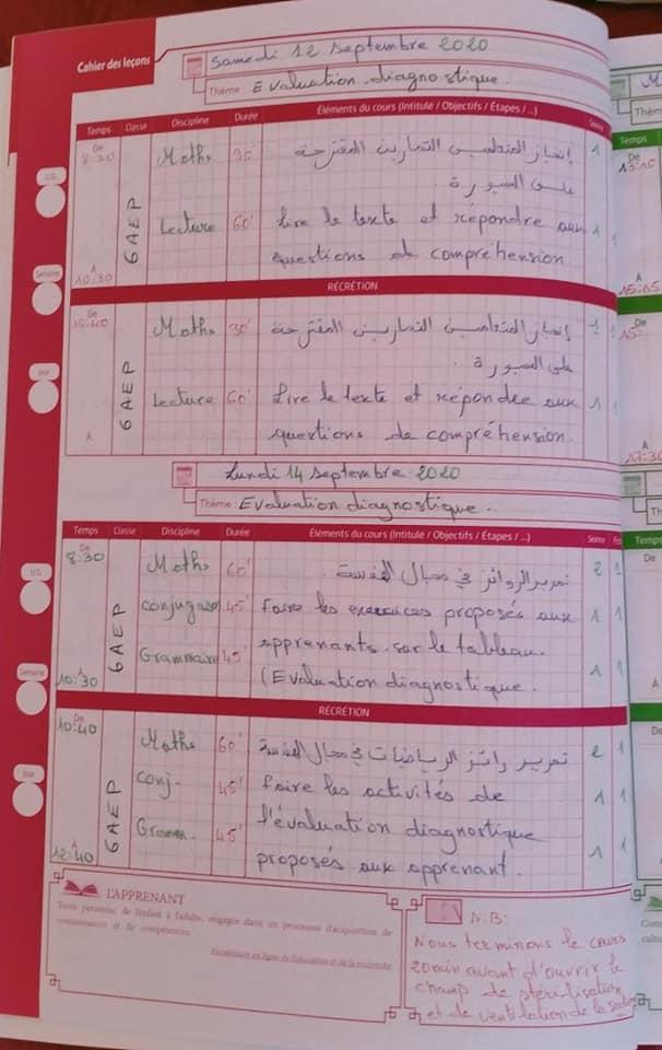 نموذج مذكرة يومية بالفرنسية : تدبير الأسبوع الأول من التقويم التشخيصي