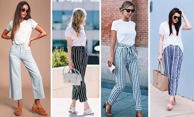 White T-shirt + Striped Pants