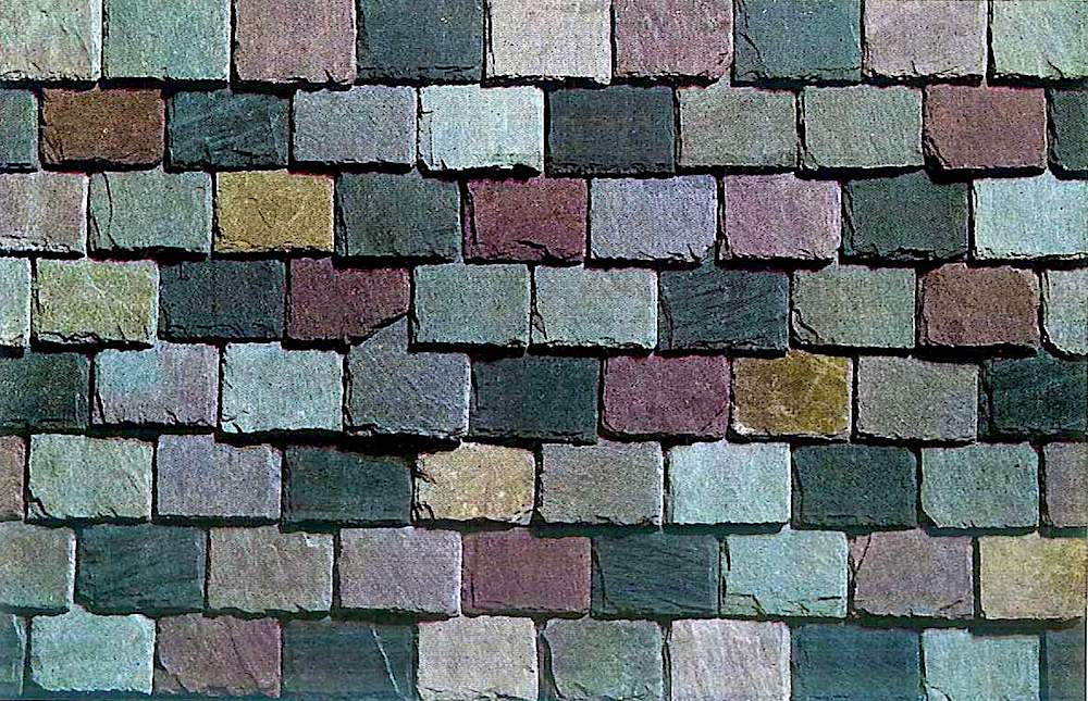 Colored stone slate roofing shingles from a 1930 builder's supply catalog