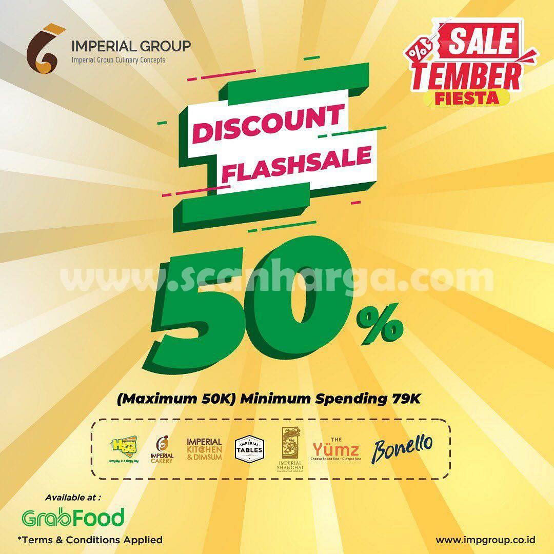 HAPPY DAY RESTO Promo FLASH SALE – DISKON 50% via GRABFOOD