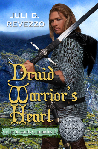 Druid Warrior's Heart, by Juli D. Revezzo, Celtic Stewards Chronicles, fantasy Medieval Romance, pagan paranormal romance, Irish Romance, borrow with Amazon Prime