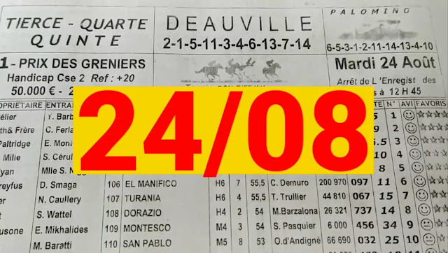 programme quinté+ Pronostic quinté Mardi 24/08/2021